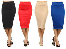 Made in USA Sexy Solid Stretch Banded High Waist Knit Fitted Pencil Skirt S M L