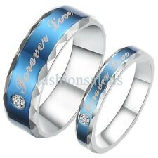 6mm/4mm Blue Stainless Steel Ring Forever Love Couple's Wedding Engagement Band