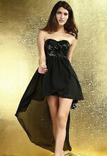 BEIGE OR BLACK CHARMING BOULEVARD SEQUINED LONG EVENING MINI DRESS SIZES S/M/L
