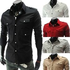 New Men's Multi Pocket Badges Slim Casual Long Sleeved Casual Dress Shirts