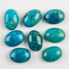NATURAL CHRYSOCOLLA GEMSTONE OVAL CAB GREEN WITH BLUE COLOR