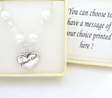 WHITE glass pearl CHAIN wedding necklace,Bridesmaid,Flowergirl,Mother,bride gift