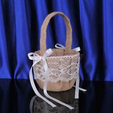 Burlap and Lace Wedding Party Flower Girl Basket Ribbon Bowknot Petals Basket