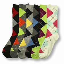 12-6 Pairs Lot Womens Mens Argyle Dress Socks Crew Design Multi-Color Fashion