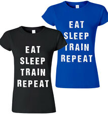 Ladies Gym Repeat T-Shirt Fitness Top Training Workout Tee Vest MMA Womens Girls