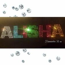 """Personalised Diamante Rhinestone Any Name Iron On T-Shirt Transfer 2"""" Letters"""
