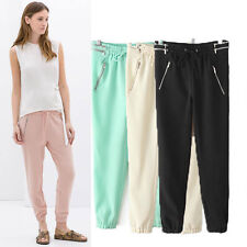 Casual Lady Candy Zip Stretch Waist Loose Yoga Genie Boho Relax Long Pants New D