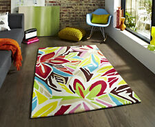 NEW LARGE MODERN THICK CREAM MULTI COLORS FLOWERY DESIGN RUGS FREE P&P