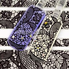 3D Nail Art Sticker Decals Beauty Decoration Tools Supplies Black Lace Design 22