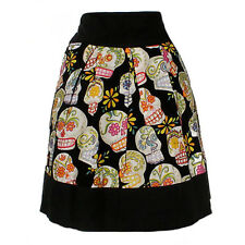 Women's Hemet Sugar Skulls Day of the Dead Skirt Latina Retro Rockabilly Tattoo