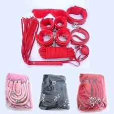 BSD10 7 pc Blk Furry Role Play Bondage Kit Restraint Fetish Beginner Set Sub SM