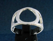 Ring with Greek Letter Omicron Symbol Initial - Sterling Silver 925 custom size