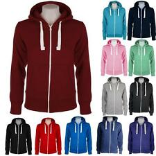 New Womens Ladies Hooded Hoody Sweatshirt Fleece Zipper Jacket Hoodies