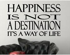 Happiness is Not a Destination Vinyl Wall Decals Quotes Lettering Stickers