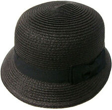Ladies Women Classic Ribbon Bow Straw Hat Cloche Bucket Beach Hat Sun Cap