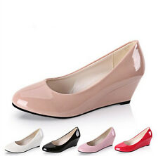 Charm Lovely Women Wedges  Leather Comfortable Work Pumps Shoes CA HU