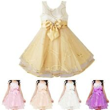 NEW Kids Girls Pageant Cute Princess Bow Skirt Tutu Party Wedding Dress Size 3-8