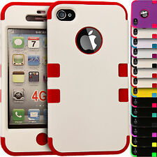 Shock Proof Hybrid Hard & Soft Builder Silicone Cover Case for Apple iPhone 4/4S