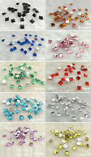 100pcs Square Flatbacks Acrylic Rhinestones Gem 8x8mm Scrapbooking Beads