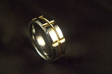 Men's New Gold Tungesten Carbide Wedding Band Ring Size 9 and 10 +Free Shipping