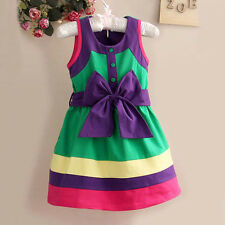 New Girls Summer Colorful Bow Belt Style Sleeveless Party Kids Holiday Dress