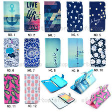 Luxury Folio Printed Cute Design PU Leather ID Card Stand Case Cover For Phone