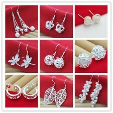 New! Wholesale Lady Fashion Jewelry Sterling silver Plated earrings+gift box