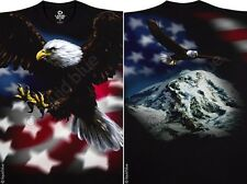 AMERICAN EAGLE II-2 sided T-SHIRT-PATRIOT-FLAG-L-XL-XXL