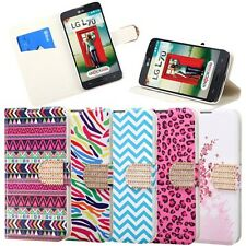 For LG Optimus L70 / Exceed 2 Leather Flip Wallet Case Cover Stand Print