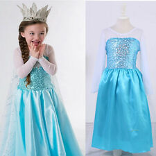 Frozen Princess Queen Elsa Anna Dress Up Gown Costume Kids Girls Skirt Cape 3-8Y