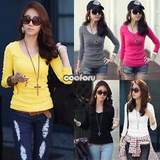 Junior/ WomenPlain Basic V-Neck Milk Silk top Long-SLEEVE T-Shirt New Color Tee