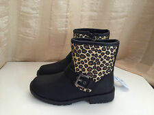 The children's place girl's black boots shinny leopard
