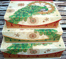 pUNCH sTUDIO Choice of Peacock Wreath Flap Lid Decorative Holiday Keepsake Box