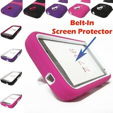Hybrid Case Cover Belt-In Screen Protector For ZTE Majesty Z796C Straight Talk