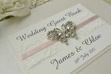 ♥ Diamante Butterfly Wedding Guest Book. Luxury Pearlescent Ivory Book Cover ♥