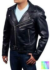 Ghost Rider Mens Black Real Cow Leather Biker Jacket worn by Nicolas Cage 1055