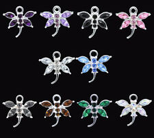 Wholesale Lots Mixed Rhinestone Dragonfly Charm Pendants 20x19mm