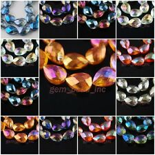 Pretty Faceted Glass Crystal Teardrop Heart Beads Spacer Finding 25x16mm Charms