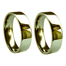 6mm 18ct Yellow Gold Wedding Band Flat Court 750 UK HM Heavy & Extra Heavy Ring