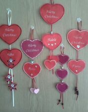 Christmas Personalised Embroidered Felt Hanging Heart Decorations