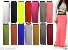 Womens Long Gypsy Maxi Skirts Ladies Stretch Full Length Dress 8 10 12 14 *JrsSK