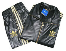 ADIDAS CHILE 62 BLACK GOLD SPORT FULL TOP TRACK SUIT JACKET M L