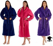 NEW LADIES SUPERSOFT FLUFFY DRESSING GOWN WRAP ROBE FUSHIA OR NAVY MED008