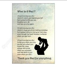 Wall Art. WHAT IS A DAD  tribute poem Typography print unframed Fathers Day gift