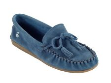 Old Friend Women Dorris Suede Slip On Moccasin Slipper Shoes Blue PM447100