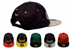 NEW FUNKY RETRO GEEK HAT SLOGAN FLAT PEAK SNAPBACK BASEBALL CAP HAT - FREE POST