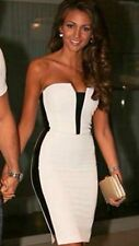 NEW SEXY BLACK WHITE BANDEAU FITTED MICHELLE KEEGAN STYLE DRESS SIZES 8 10 12 14