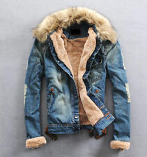hot new Fur collar wool denim men jacket with thickened male denim jacket coat