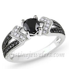925 Sterling Silver Black & White Micro Pave Ring 2.84 CT CZ Engagement Wedding