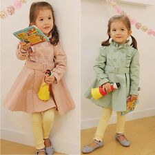 New Kids Toddler Girl Clothes Double-breasted Pure Colour Coat Jacket Top Sz3-8Y
